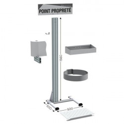 """5S Cleaning Station, Stainless Steel, 20 x 20 x 62""""   NETPOST 450 STAINLESS STEEL"""
