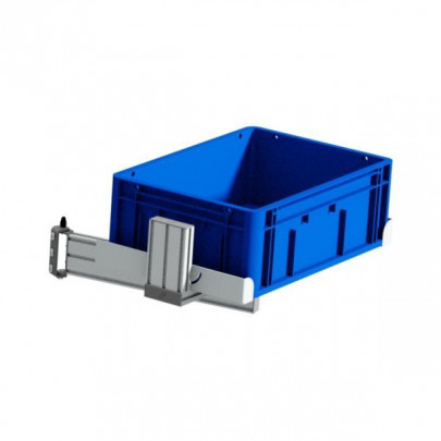 Articulated and tiltable lower plastic parts bin support
