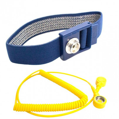 ESD wrist strap with spiral cable