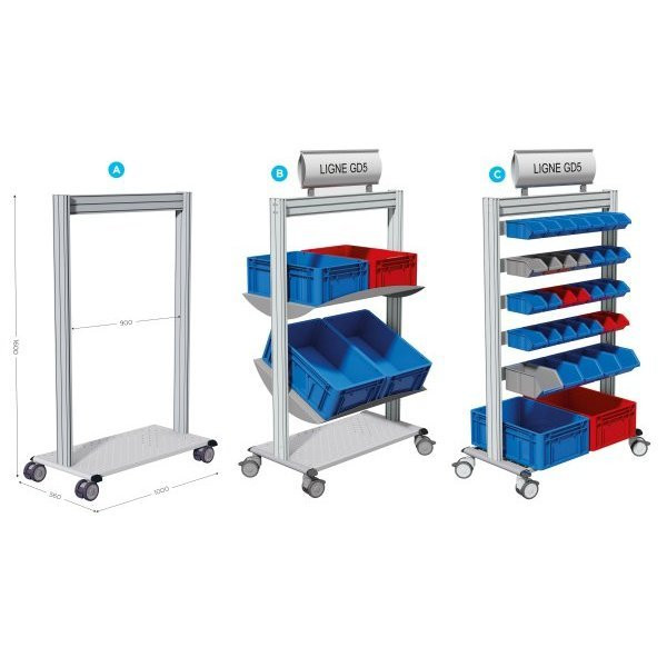 Mobile tray-holder trolley   LEANPOST 900