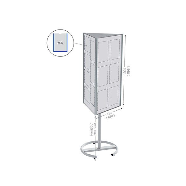 Rotating Magnetic Whiteboard, Height Adjustable | TOP'INFO 3 sided