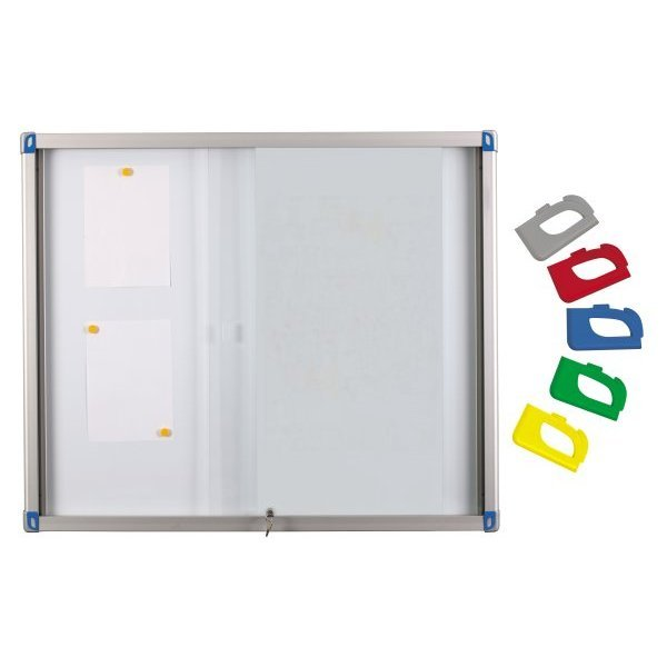 Magnetic indoor display case with sliding doors