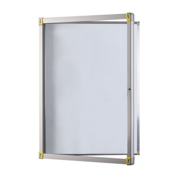 Magnetic outdoor display case with hinged door