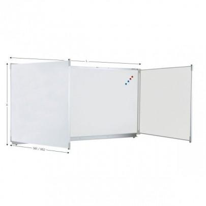 Magnetic triptych whiteboard for felt writing