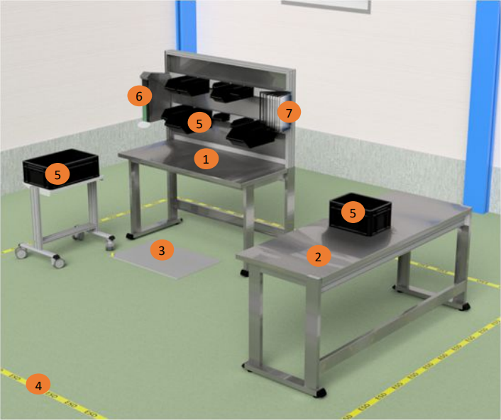 Example of a stainless steel workstation